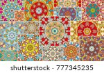 Vector patchwork quilt pattern. Vintage decorative elements. Hand drawn background. Indian, Arabic, Turkish motifs for printing on fabric or paper. Abstract colorful doodle pattern in mosaic style