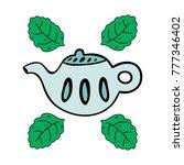 cartoon teapot with mint... | Shutterstock .eps vector #777346402