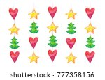 colorful watercolor garland... | Shutterstock . vector #777358156