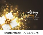christmas background with gift... | Shutterstock . vector #777371275
