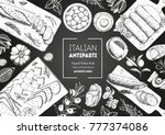 italian food top view. a set of ... | Shutterstock .eps vector #777374086