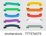 flat stickers vector ribbons in ... | Shutterstock .eps vector #777376075