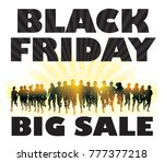 black friday. crowd of running...   Shutterstock . vector #777377218