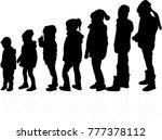 childrens black silhouettes.   Shutterstock .eps vector #777378112