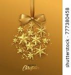 christmas golden ball made of... | Shutterstock . vector #777380458