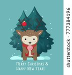 new year icon with a deer. a... | Shutterstock .eps vector #777384196