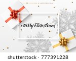 christmas background with gifts ... | Shutterstock . vector #777391228