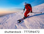 a skier is riding on the slope. ... | Shutterstock . vector #777396472