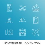 trip icon line set with outdoor ... | Shutterstock .eps vector #777407902
