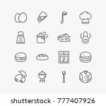 kitchen icon set with bread ... | Shutterstock .eps vector #777407926