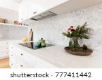 rear kitchen bench styled with...   Shutterstock . vector #777411442