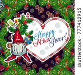 square holiday card with funny... | Shutterstock .eps vector #777412915