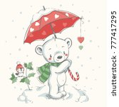cute bear with umbrella hand... | Shutterstock .eps vector #777417295