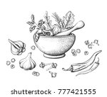 herbs and spices in a mortar... | Shutterstock .eps vector #777421555