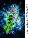 female cyborg on techno...   Shutterstock . vector #777436018