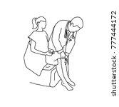 neurologist using small hammer... | Shutterstock .eps vector #777444172