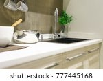 modern white kitchen countertop ... | Shutterstock . vector #777445168