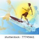 halftone surfer  summer scene.... | Shutterstock .eps vector #77745661