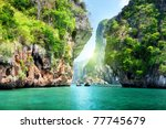 rocks and sea in krabi thailand | Shutterstock . vector #77745679