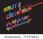 colorful merry italic font set | Shutterstock .eps vector #777476812