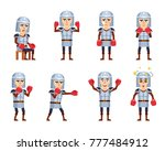 set of knight characters posing ... | Shutterstock .eps vector #777484912