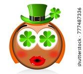 st. patrick's day   girl emoji | Shutterstock . vector #777487336