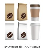 set of package with coffee... | Shutterstock .eps vector #777498535