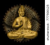 seated buddha in a lotus pose | Shutterstock . vector #777500125