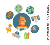spaceman in pressure suit... | Shutterstock .eps vector #777510382