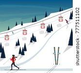 ski resort snow mountain... | Shutterstock .eps vector #777511102