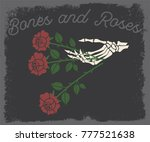 hand and roses traditional... | Shutterstock .eps vector #777521638