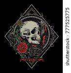 skull and roses graphics work... | Shutterstock .eps vector #777525775