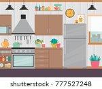 modern kitchen interior with... | Shutterstock .eps vector #777527248