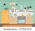 modern kitchen interior with... | Shutterstock .eps vector #777527272