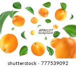 Flying Apricot. Realistic 3d...