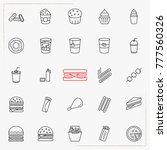 fast food line icons set | Shutterstock .eps vector #777560326