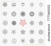 flower line icons set | Shutterstock .eps vector #777560332