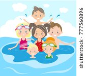 children swim and play in the... | Shutterstock .eps vector #777560896