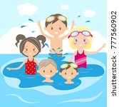 children swim and play in the... | Shutterstock .eps vector #777560902