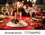 table served for christmas... | Shutterstock . vector #777566992