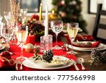 table served for christmas...   Shutterstock . vector #777566998