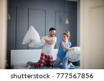 charming playful love couple... | Shutterstock . vector #777567856