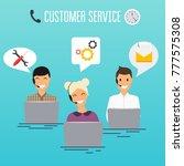 operators of call center office ... | Shutterstock .eps vector #777575308