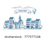 cityscape and air balloon with... | Shutterstock .eps vector #777577138