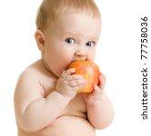 baby boy eating healthy food... | Shutterstock . vector #77758036