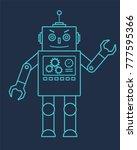 blue line robot with antenna...   Shutterstock .eps vector #777595366