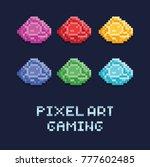 pixel art style vector... | Shutterstock .eps vector #777602485
