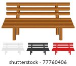 Wooden Bench Set On White...
