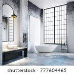 modern loft bathroom interior... | Shutterstock . vector #777604465