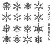 snowflake line icons set vector | Shutterstock .eps vector #777607198